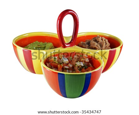 A colorful three-bowled serving dish holds three Mexican-style dips for chips