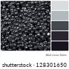 A colour palette with a background texture of black caviar with complimentary colour swatches. - stock photo