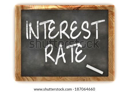 A Colourful 3d Render Interest Rate Concept Blackboard Illustration - stock photo