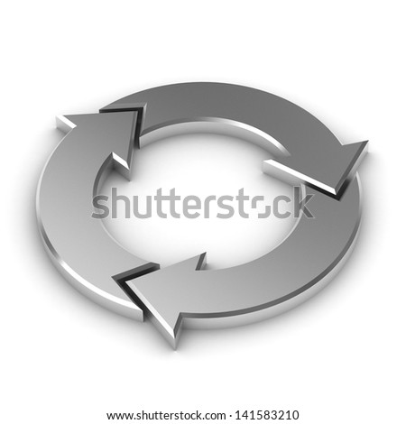 A Colourful 3d Rendered Circular Arrow Illustration - stock photo