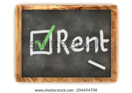 A Colourful 3d Rendered Concept Illustration showing a choice to Rent on a Blackboard - stock photo