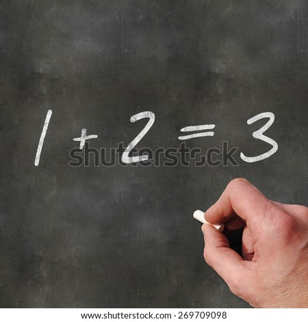 A Colourful 3d Rendered Concept Illustration showing a hand writting Math on a blank blackboard - stock photo