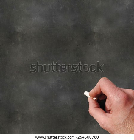 A Colourful 3d Rendered Concept Illustration showing a hand writting on a blank blackboard - stock photo