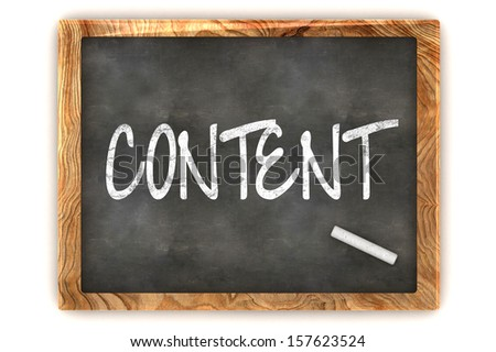 """A Colourful 3d Rendered Concept Illustration showing """"Content"""" writen on a Blackboard with white chalk - stock photo"""