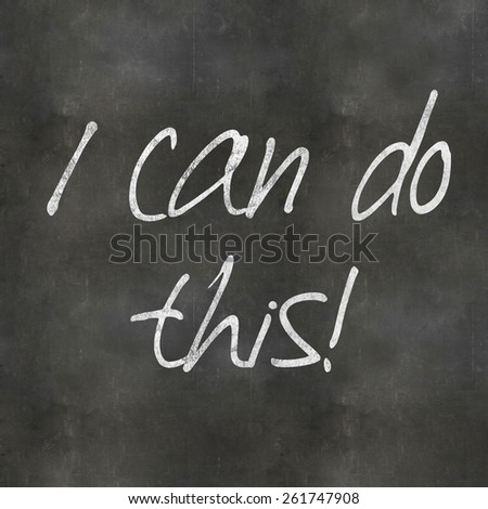 A Colourful 3d Rendered Concept Illustration showing I can do this written on a Blackboard - stock photo
