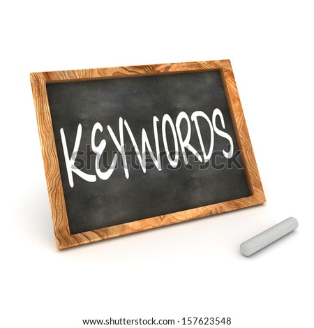"""A Colourful 3d Rendered Concept Illustration showing """"Keywords"""" writen on a Blackboard with white chalk - stock photo"""