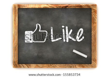 """A Colourful 3d Rendered Concept Illustration showing """"Like us"""", as used on social networks writen on a Blackboard with white chalk - stock photo"""
