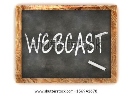 "A Colourful 3d Rendered Concept Illustration showing ""Webcast"" writen on a Blackboard with white chalk - stock photo"