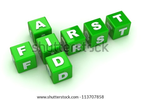 A Colourful 3d Rendered First Aid Crossword Concept Illustration - stock photo