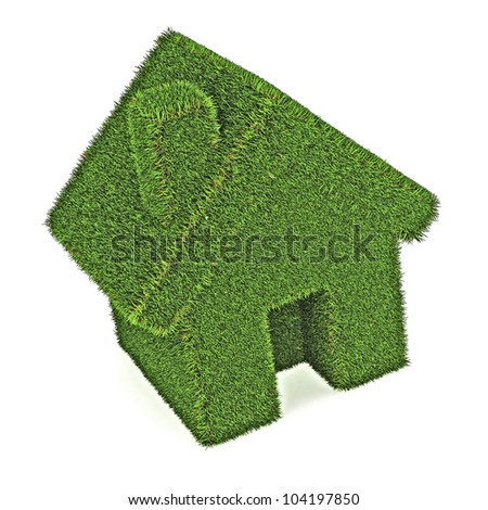 A Colourful 3d Rendered Green Eco House Illustration