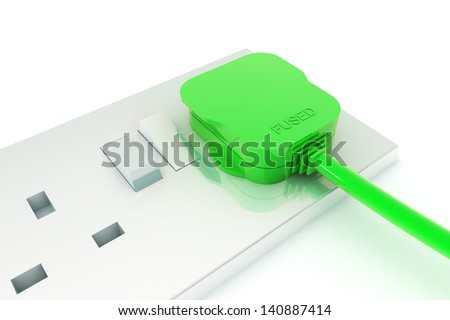 A Colourful 3d Rendered Green Energy Plug Concept Illustration - stock photo