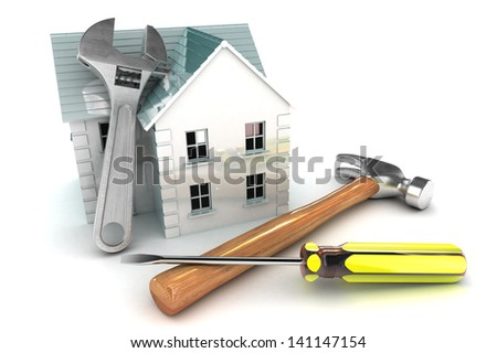 A Colourful 3d Rendered Home Improvement Concept Illustration - stock photo