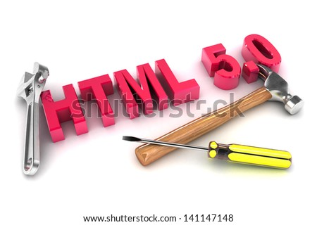 A Colourful 3d Rendered HTML 5 Tools Concept Illustration - stock photo