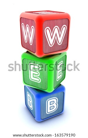 A Colourful 3d Rendered Illustration of Internet WEB Building Blocks - stock photo