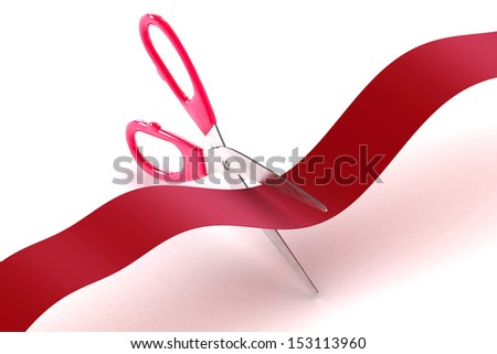 A Colourful 3d Rendered Illustration of scissors cutting a red tape - stock photo