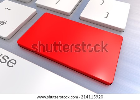 A Colourful 3d Rendered Illustration showing a Blank Red Keyboard concept on a Computer Keyboard - stock photo