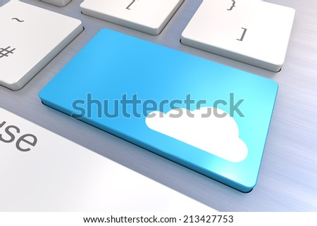 A Colourful 3d Rendered Illustration showing a Cloud Concept on a Computer Keyboard