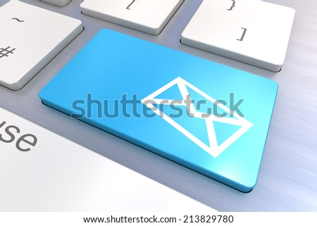 A Colourful 3d Rendered Illustration showing a Email concept on a Computer Keyboard - stock photo