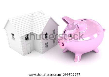 A Colourful 3d Rendered Illustration showing a Piggybank saving for a property