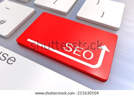 A Colourful 3d Rendered Illustration showing a SEO Concept Keyboard - stock photo
