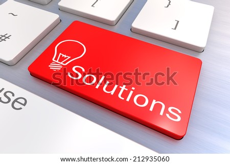 A Colourful 3d Rendered Illustration showing a Solutions Concept on a Computer Keyboard - stock photo