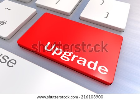 A Colourful 3d Rendered Illustration showing an Upgrade Concept Keyboard - stock photo