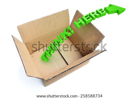 A Colourful 3d Rendered Illustration showing the concept of Thinking outside the Box - stock photo
