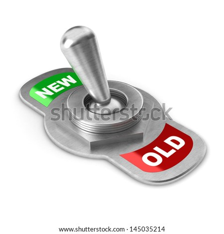 A Colourful 3d Rendered New Concept Switch - stock photo