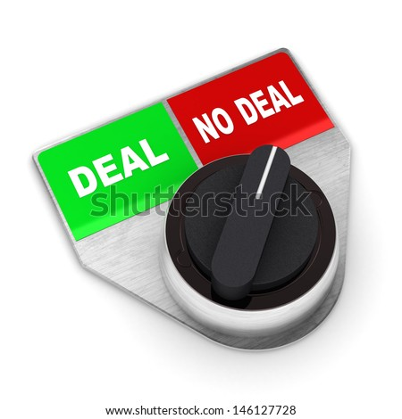 A Colourful 3d Rendered 'No Deal' Concept Switch Illustration - stock photo