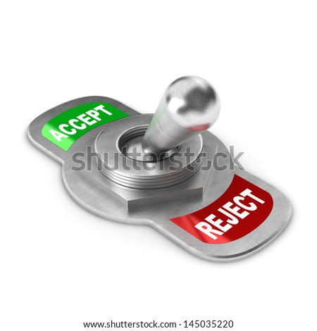 A Colourful 3d Rendered Reject Switch Concept Illustration - stock photo