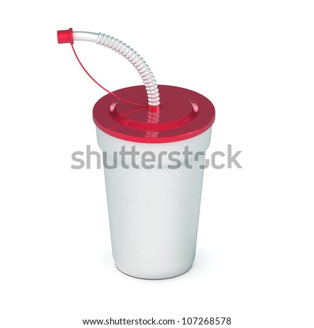 A Colourful 3d Rendered Soda drink with Straw - stock photo