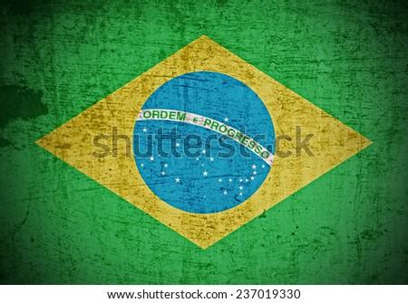 A Colourful Grunge style Brazilian Flag Illustration - stock photo