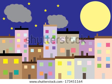 A Colourful Housing Estate at Night - stock photo