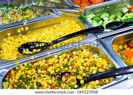 A colourful salad buffet seen in a restaurant - stock photo