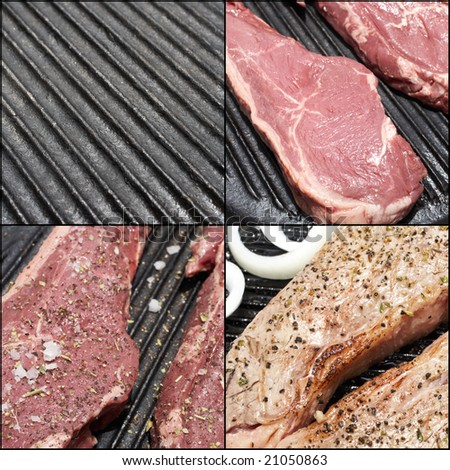 A combination image of the steps to prepare the perfect steak dinner