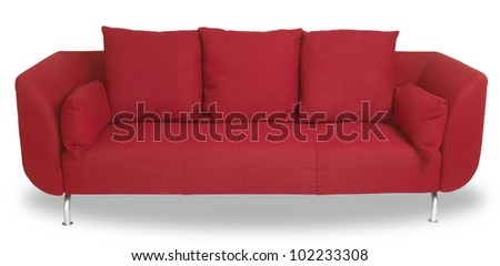 a comfy red couch sofa isolated on white with clipping path - stock photo