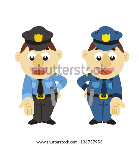 a commentary gesture by a cartoon policeman