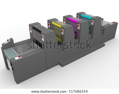 A commercial printing press with four modules, one for each color: Magenta, cyan, yellow and black. - stock photo