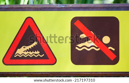 A common warning sign in northern Australia at rivers and waterways and beaches - stock photo