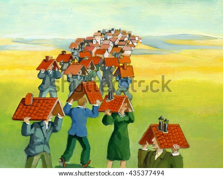 a community of people with a roof overhead form a village on a hill - stock photo