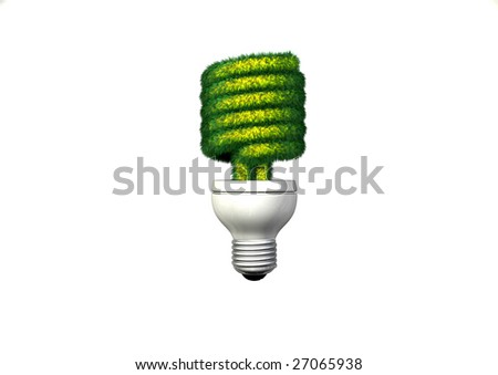 A Compact Fluorescent Light with a grassy green bulb. - stock photo