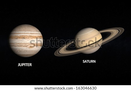 A comparison between the Gas Planets Jupiter and Saturn on a starry background with english captions.