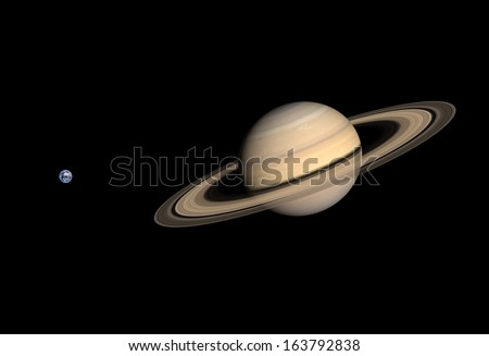 A comparison between the planets Earth and Saturn on a clean black background.