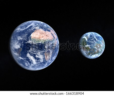 A comparison of the Planet Earth and a terraformed Mars on a slightly starry background. - stock photo