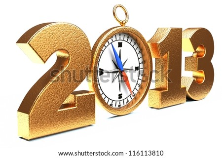 a compass as a part of concept, choose you direction on 2013 year - stock photo