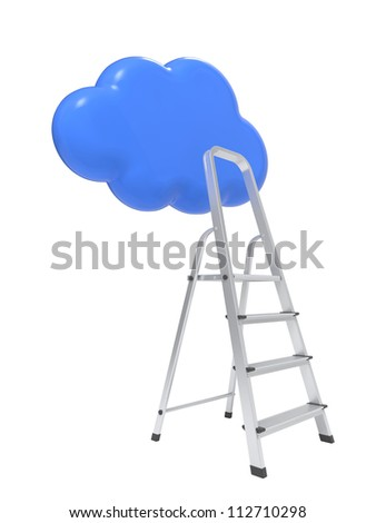 a Competition Concept, Cloud with Ladders on White. - stock photo