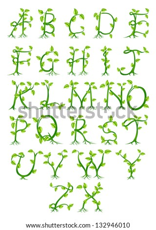 Complete Decorative Alphabet Made Letters Growing Stock Illustration 132946010 Shutterstock
