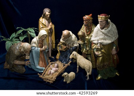 A complete Nativity scene including the holy family, wise men, shepherds & animals - stock photo