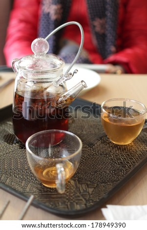 A complete set of tea brewing utensils. - stock photo