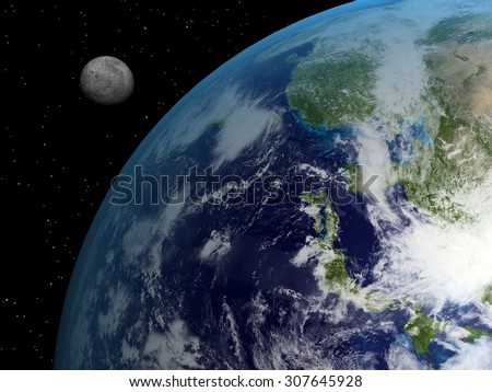 A composite image of the moon and earth with stars. Elements of this image furnished by NASA. - stock photo